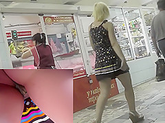 Cameraguy tries to film energetic blonde's upskirt view