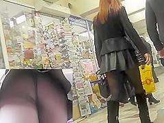 MILF with her boyfriend in the public upskirts