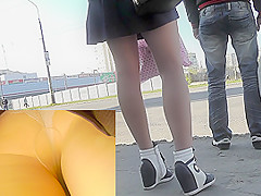 Sexy body color pantyhose amaze in upskirt video