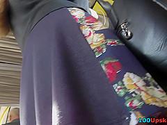Spycam upskirt filmed exciting view under A-line skirt