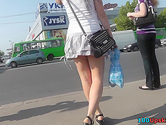 Attractive ass in upskirt thong movie by young chick