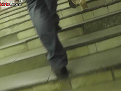 Adorable lady in mini skirt got in public upskirt scene