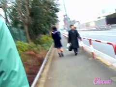 Petite Japanese sweetie is having sharking moment on the way to school