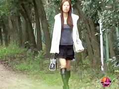 Amazing public nudity video of long-legged hot oriental brunette