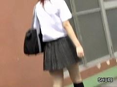 Jumpy little schoolgirl loses her panties during instant sharking action