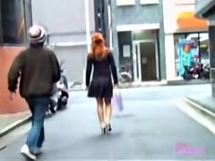 Glamorous red-hot oriental sweetie flashes her ass when her outfit get lifted