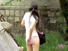 Smooth vivacious babe loses her pink skirt during great sharking scene