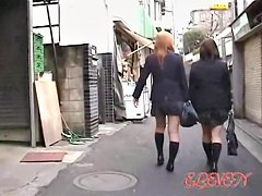 Fast double sharking attack with two Asian schoolgirl being nicely revealed