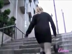 Blond-haired careless slag having sharking experience while climbing on the stairs