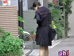 Innocent pig-tailed Japanese hoe getting pulled into sharking odyssey