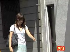 Confused pretty Japanese tramp having sharking meeting with some guy