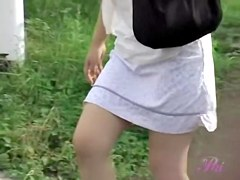 Plump colorful Japanese tart getting caught off her guard during public sharking