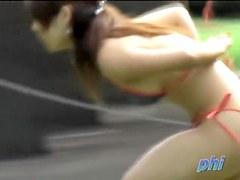 Bikini sharking encounter with petite sexy princess losing her tight top