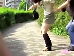 Caring short-haired Asian sweetie loses her skirt during wild sharking meeting