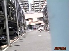 Garage sharking video with plump petite oriental tramp getting caught off the guard