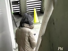 Leggy black-haired oriental slut making sounds during sharking meeting