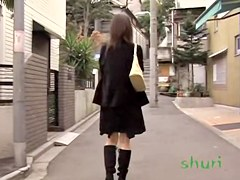 Glossy Asian sweetie loses her pink panties during sharking meeting