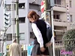 Amusing long-legged oriental slut is standing tall during instant sharking attack