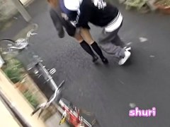 Teenage brown-haired busty babe is having really wicked sharking affair