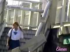 Brisk pig-tailed oriental schoolgirl makes loud sounds when she meets sharking lad