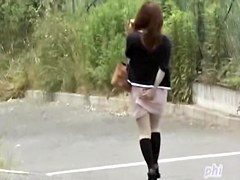 Public sharking adventure with small vixenish Asian babe being completely surprised