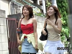 Group top sharking adventure with two lovable Asian sweeties losing their upper parts