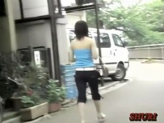 Adorable Asian minx receiving sharking treatment during rainy day