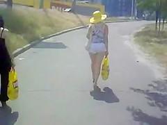 girl in white shorts