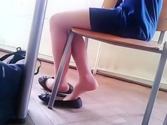 Candid Stunning Teen Shoeplay Feet in Nylons pt 2