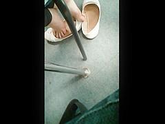 Teen Shoeplaying White Flats