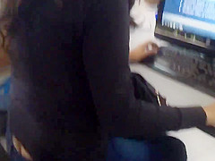 Beautiful girl studing and showing ass crack