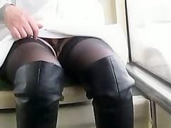 Flsshing stockings in a bus