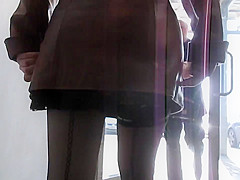Sexy girl in seamed stockings going upstairs 3