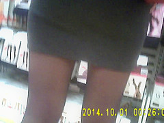 Nice shiny black pantyhose girl in mini skirt
