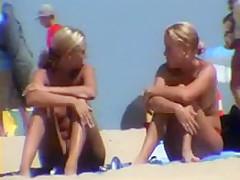 Cute blonde girls at beach - hidden cam