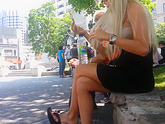 Candid Blonde Shoeplay Dangling Flip Flops Feet Face