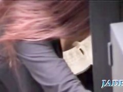 Asian girl who reads is caught on tape by a kinky voyeur