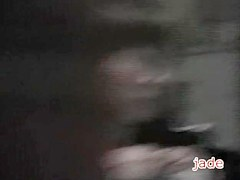 Sexy banana teasing a cute asian cunt in voyeur porn video