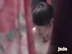 Asian angel with sexy seines masturbates in voyeur spy video