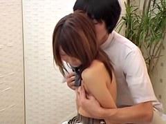 Playful Japanese babe enjoys erotic voyeur massage
