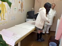 Japanese cutie fingered in hidden cam massage video