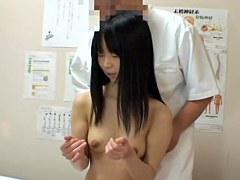 Adorable hairy Jap fingered in erotic massage voyeur clip