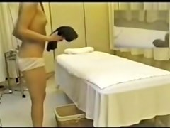 Titless Jap slut fingered hard in hidden cam massage clip