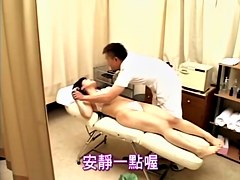 Chubby masseur fucks a hot Asian in Japanese sex video