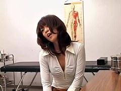 Sweet Jap enjoys a very kinky treatment during pussy exam