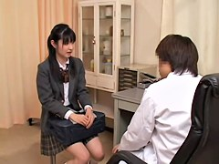 Skinny asian chick in mini skirt goes to the gynecologist