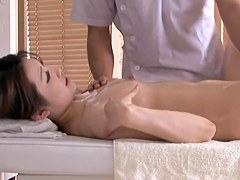 Free spycam sex massage video with one lustful asian bitch