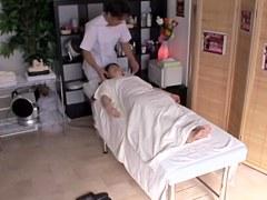 Japanese slut fucked hard by Manuki on the massage table