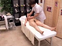 Japanese slut rides throbbing cock in voyeur massage video
