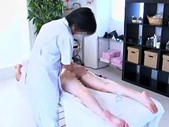 Savory Jap cutie gets creamed in voyeur massage clip